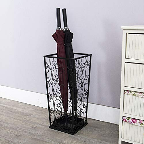 GAIXIA European Creative Wrought Iron Umbrella Frame Hollow Pattern Pattern Umbrella Stand Home Hotel Foyer Creative Storage Shelf Umbrella Stand 532020cm Umbrella Stand (Color : Black)