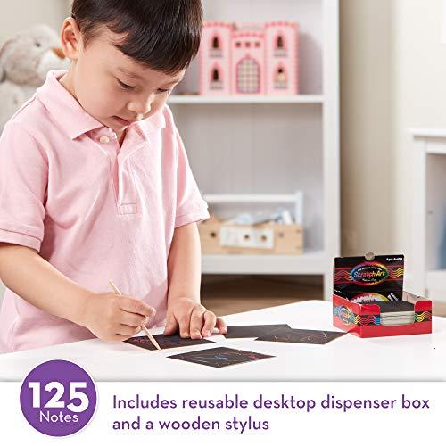 "51nnFOwZ75L - Melissa & Doug Scratch Art Box of Rainbow Mini Notes, Arts & Crafts, Wooden Stylus, 125 Count, 3.75"" H x 3.75"" W x 1.75"" L"