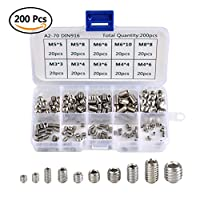 QLOUNI 200pcs M3 M4 M5 M6 M8 Headless Screws Hex Grub Screw Stainless Steel Thread Cup Point Assortment Kit from QLOUNI