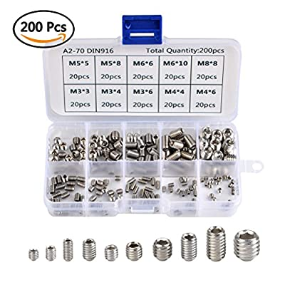 QLOUNI 200pcs M3 M4 M5 M6 M8 Headless Screws Hex Grub Screw Stainless Steel Thread Cup Point Assortment Kit