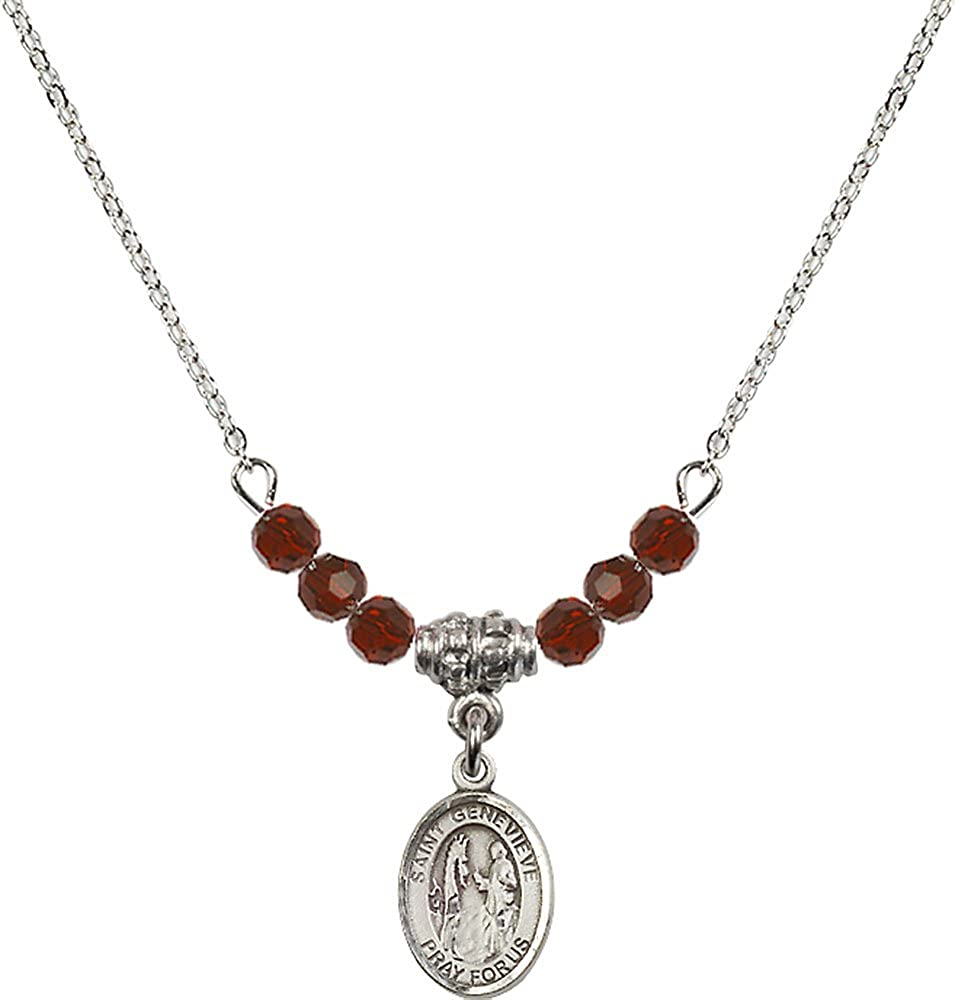 18-Inch Rhodium Plated Necklace with 4mm Garnet Birthstone Beads and Sterling Silver Saint Genevieve Charm.