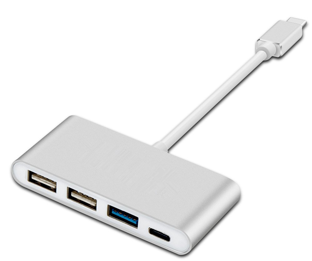 7 - in - 1 USB Cハブ, Type Cハブ3.0 with 1 USB 3.0ポート、HDMIポート、3 USB 2.0ポート、SD & MicroSDカードリーダー、ポータブルfor MacBook Pro、Chromebook B074X2S7S5 4-in-1 USB-C Silver 4in1 USBC Silver