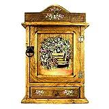 Caja de llaves con cajón Pintada a Mano con Pintura central de Carreta de Flores Entintado Rustico Hecho en México por Artesanos