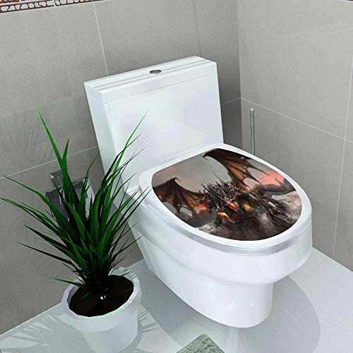 Auraise-home Bathroom Toilet seat Sticker Decal and Ground Fantasy World of Three Headed Fire Breathing Dragon LargeMonster Gothic Brown Grey Decal Sticker Vinyl W15 x L17
