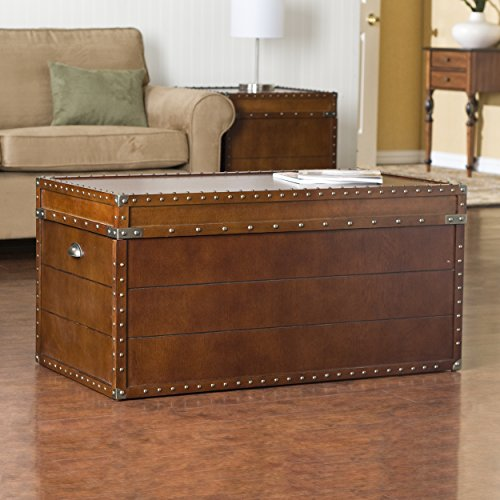 037732041919 - Southern Enterprises Steamer Storage Trunk Cocktail Table, Walnut Finish carousel main 1