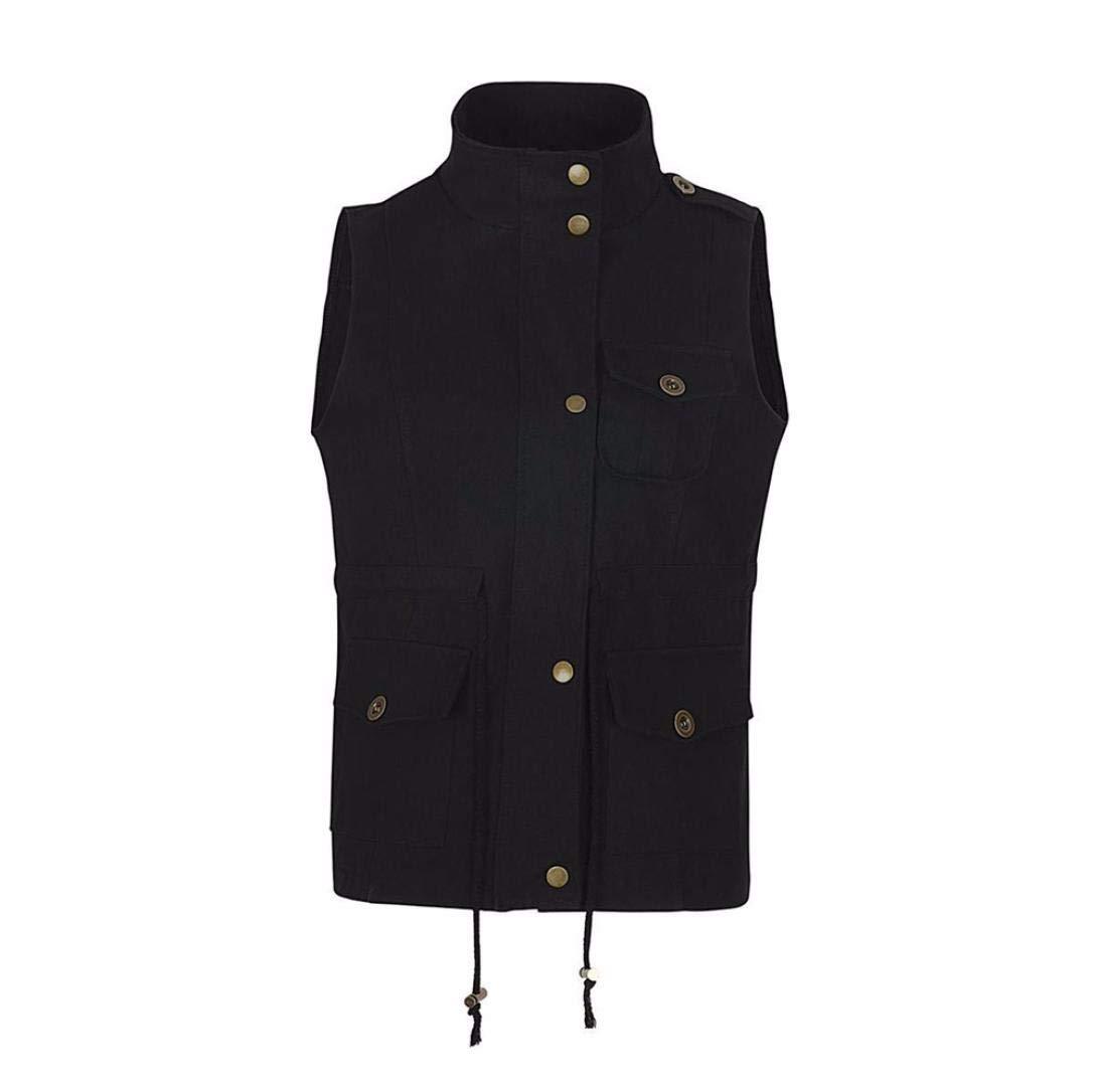Faionny Womens Coat Jacket Blouse Lightweight Sleeveless Stretchy Drawstring Jacket Vest with Zipper