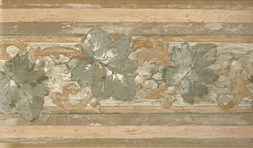 Wallpaper Border Green Tan Beige Taupe Tuscan Grapevine Scroll with Gold Trim