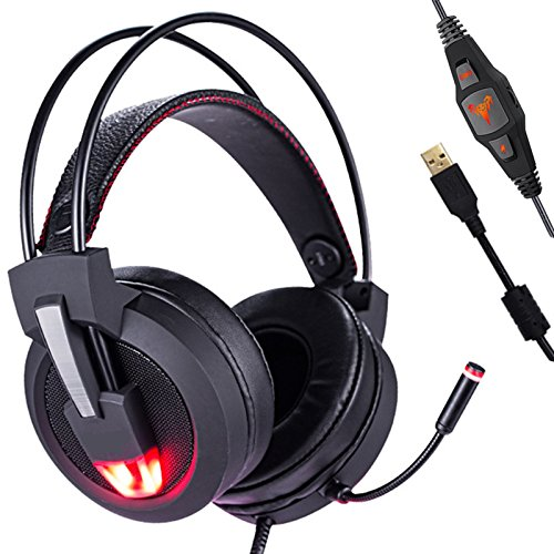 Gaming Headset 7.1 Channel Virtual USB Surround Sound, ieGeek Stereo Wired Computer Gaming Headset PC Gaming Headphones Over-ear Headphones Noise Cancelling with Rotating Mic/Volume Control/LED Light