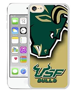 iPod Touch 6 Case ,NCAA American Athletic Conference AAC Football South Florida Bulls 6 white iPod Touch 6 Screen Cover High Quality Fashionable And Unique Custom Designed Phone Case