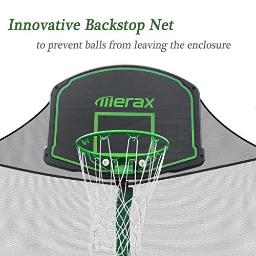 Merax 14FT 12FT Trampoline with Safety Enclosure Net, Basketball Hoop and Ladder - BV Certificated – Basketball Trampoline (12 Feet) by Merax (Image #3)