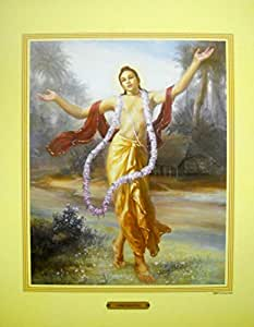 """Lord Chaitanya/ Hindu God poster - Reprint on Paper (Unframed : size 20""""x18""""inches)"""