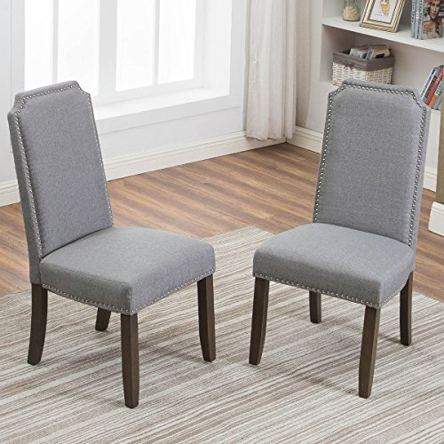 Merax Set of 2 Stylish Upholstered Fabric Dining Chairs with Nailhead Detail and Solid Wood Legs Grey
