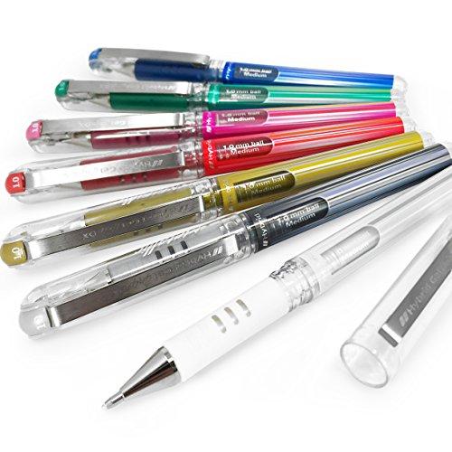 Pentel Hybrid Gel Grip Metallic Pen – 1.0mm Rollerball – Full Range Set of 7 - K230 (Hybrid Gel Grip Pentel Pen)
