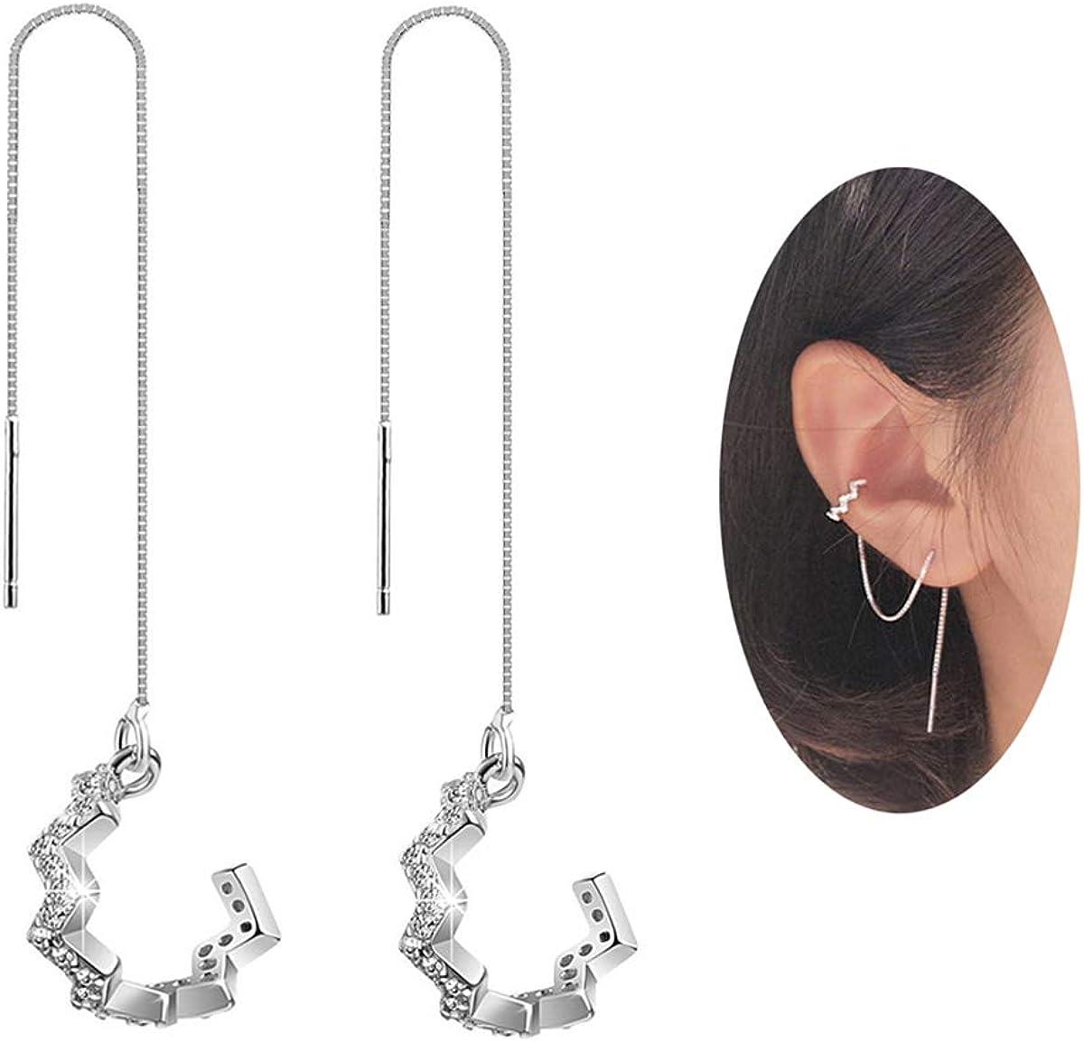 Sterling Silver Butterfly Long Wave Lightweight Dangle Earrings Hypoallergenic Nickle free