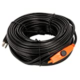 9milelake Heat Roof Gutter De-icing Ice Snow Melter Cable Tape Kit - 160ft , with Thermostat: On:6±3℃ Off:13±3℃
