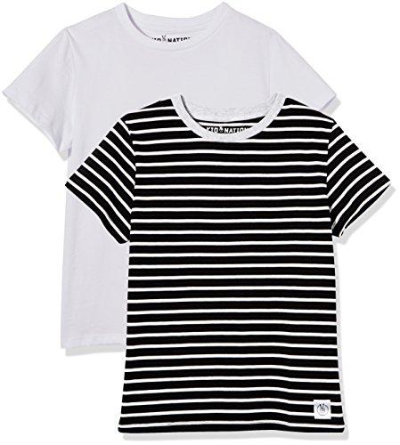 Kid Nation Kids' 2-Pack 100% Cotton Tag-Free Short Sleeve Jersey Basic Crewneck T-Shirt for Boys or Girls S White + Black Stripe