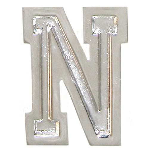 """1 7/8"""" Initial Varsity Letter Ring, Quality Made in Usa, Adj. Size 10+, Huge! Ours Alone!, N in Silver Tone"""