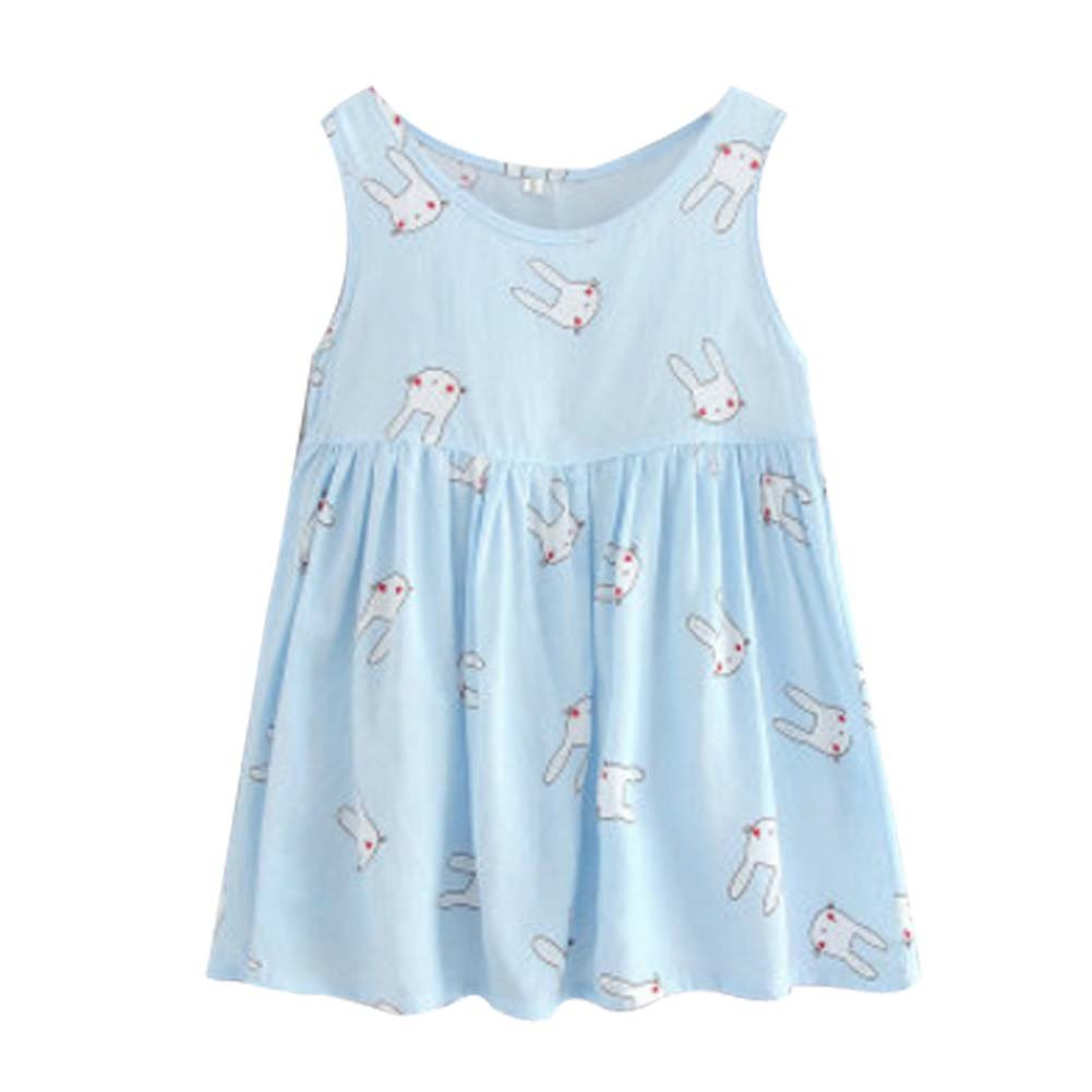 Koala Superstore Sleeveless Cotton Dress Vest Skirt for Girls Home Nightdress Kids' Pajama [D]