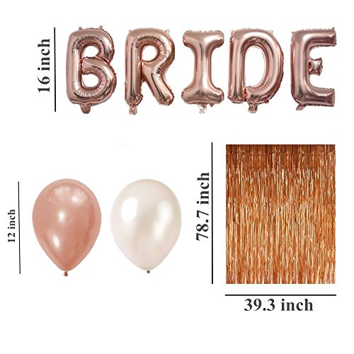 Rose Gold Bachelorette Party Decorations Kit Bridal Shower Kit - All in ONE PACKAGE-10Pcs Latex Balloons(5White,5Rose Gold), Bride Foil Balloons,Love Foil Balloon,Fringe Curtain,Bridal (Veil and Sash)