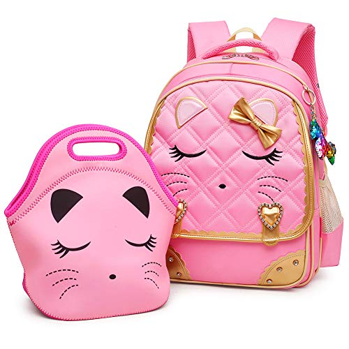 Efree Cute Cat Face Bow Diamond Bling Waterproof Pink School Backpack Girls Book Bag (Medium, Pink Set) ()