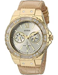 GUESS Womens U0775L2 Sporty Gold-Tone Stainless Steel Watch with Multi-function Dial and Tan Strap Buckle