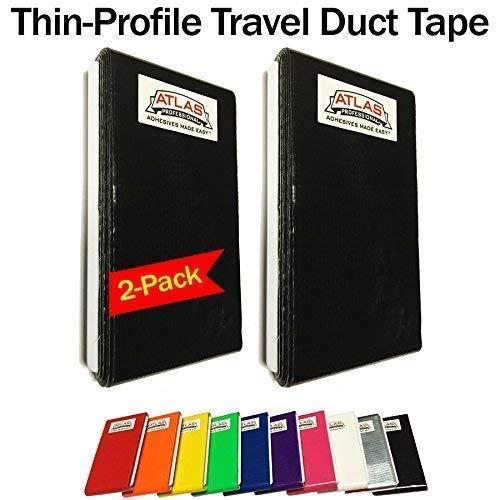 Travel Duct Tape Card-Thin Profile-Flat Fold Cards-Jumbo 2 Pack (16-Feet) (Black) ()