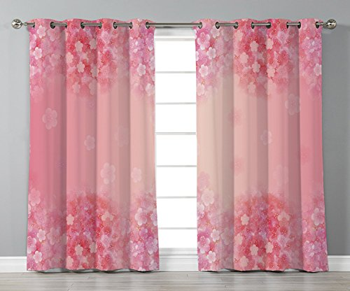 Pink Coral Natural Flower (Thermal Insulated Blackout Grommet Window Curtains,Light Pink,Plum Blossom Botany Beauty Natural Spring Elegance Flowers Background Print,Coral Ruby,2 Panel Set Window Drapes,for Living Room Bedroom K)