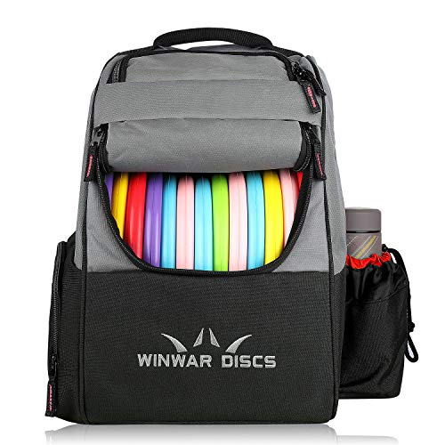WinWar Frisbee Disc Golf Backpack Pro or Beginner Disc Golf Bag Holds 18 Discs and Accessories Light Weight and Durable Easy To Carry (Black/Red) (Disc Golf Cooler Backpack)