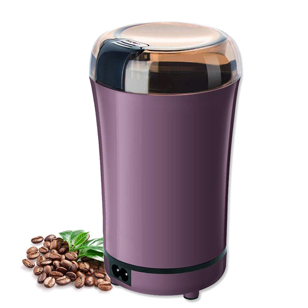 Coffee Grinder, Huaguo Electric Coffee Bean Grinder with Stainless Steel Blade Fast Grinding for Coffee, Spices, Nut and Herb, Detachable Power Cord & Little Brush Included (Purple) by Huaguo