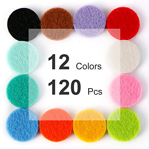 0.87 inch Essential Oil Diffuser Necklace, Car Diffuser Vent Clip Locket Refill Pads/Aromatherapy Diffuser Necklace Replacement Pads/Thickened Washable Highly Absorbent 30mm (120 Pcs)