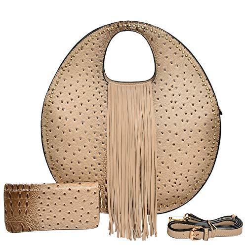 (Handbag REPUBLIC Ostrich Embossed Round Satchel w/Strap + Wallet (Taupe) )