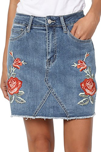 (TheMogan Women's Floral Rose Embroidered Denim Frayed Hem Mini Skirt Medium)