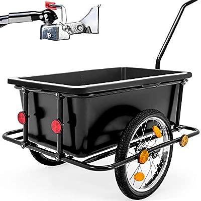 Deuba ® Remolque para bicicletas | Remolque con mango | Carga de equipaje | Barra de acoplamiento | 90 litros | 78 x 61 x 50cm | Peso máximo 80kg | ...
