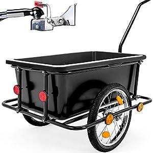 Deuba Rimorchio per bicicletta vasca in plastica rimovibile 90 L carrello per bici trasporto oggetti 80Kg 1 spesavip