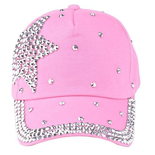 SMTSMT Baseball Cap Rhinestone Star Shaped Boy Girls Snapback Hat (Pink)