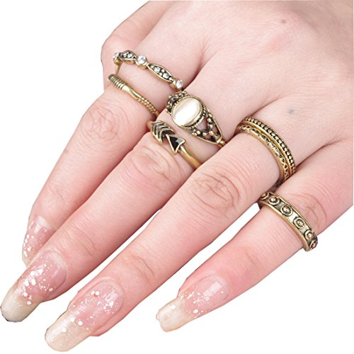 SUNSCSC Vintage Rhinestone Crystal Above Knuckle Stacking Band Midi Mid Ring Set of 7 Pcs (Antique Ring Size 9)