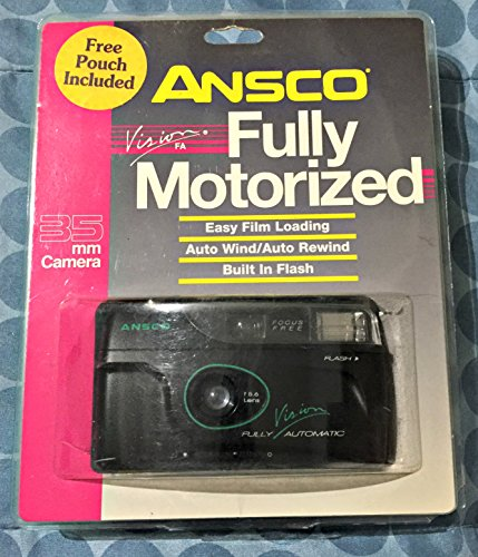 Ansco Vision 35mm Film Camera w/ F=5.6 Lens w/ Auto Load, Motor Advance & Rewind, Flash, Focus Free, Fully Automatic (Black Color Version with Green & White (Rewind Motor)