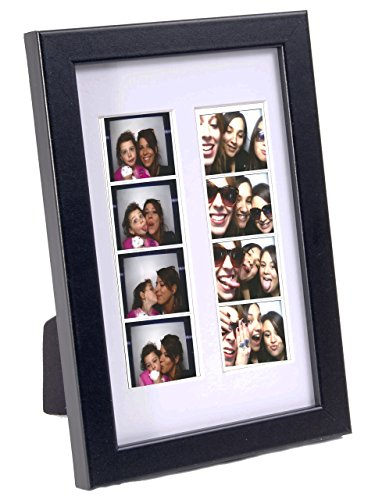 CreativePF [pbw6x9bk-w] Double Photo Booth Frame Holds 2-2x6 with White Mat to Display, Cherish and Preserve Your Wedding Memories