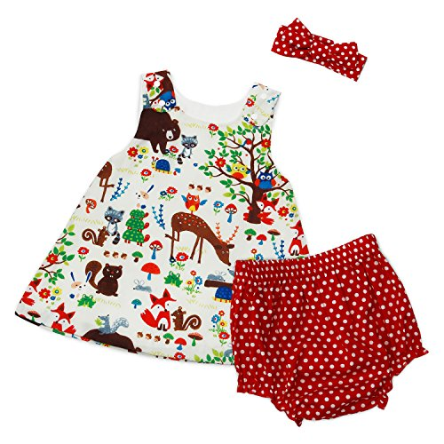 Baby Animal Dots - Baby Girls Outfit Animals Tree Tank Top+Polka Dots Shorts with Headband Set (9-12 Months, Red)