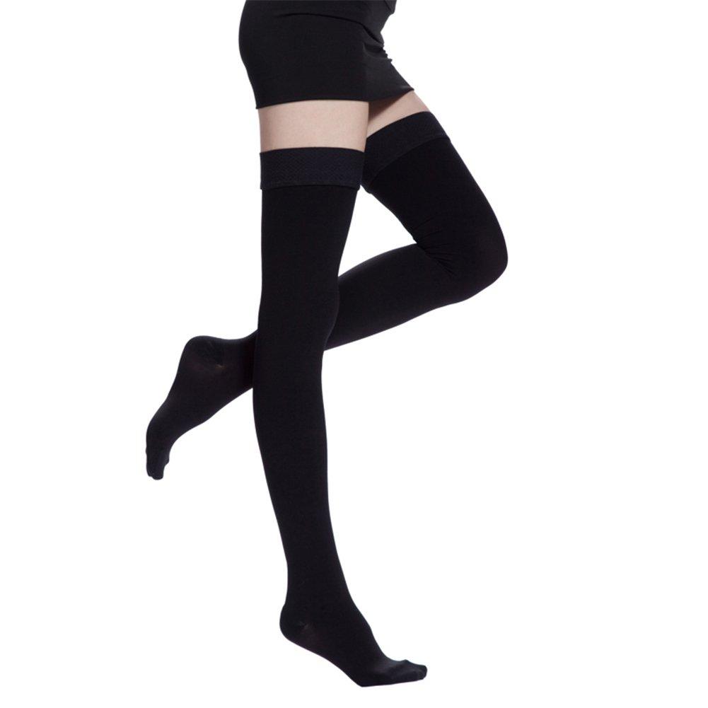 332ba3c18a4 Amazon.com  Women Medical Burn Fat Thigh High Overknee Compression  Stockings 20-30mmHg Closed toe Slim Legging Sock Pregnancy Socks Black   Health   Personal ...