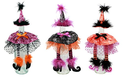 Set of 3 Witch Wine Bottle Covers Halloween Decor (Wine Bottles Halloween Decorations)
