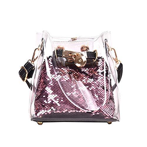 Outique Handbag,Women's Bag Transparent Messenger Bag Sequins Joker Jelly Shoulder Bag Crossbody Bag Beach Chain Purse