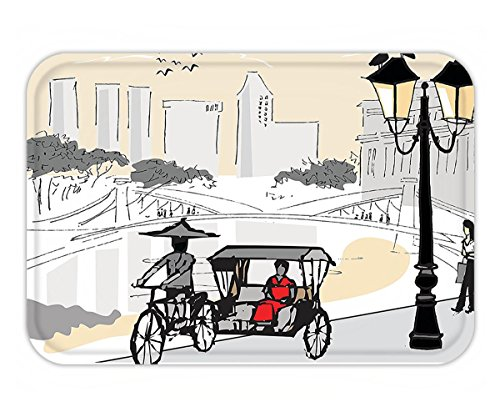 Minicoso Doormat Modern Sketch Singapore City Silhouette with Local People Asian Town Illustration Light Grey Cream Red (Pottery Singapore Barn)