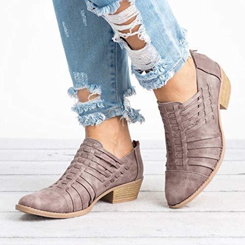 Estrecha Color Puro Cremallera para De Botines Café Zapatos Punta con Toamen Cuadrado De CuñA TacóN Mujer De CvRqX