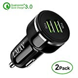 Quick Charge 3.0 Car Charger, 48W 6A Dual QC 3.0 Fast USB Car Charger for Apple & Android Devices,(2PACK).