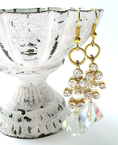 - Clear Crystal/Rhinestone Drop Earrings - Glamorous Earrings - Handmade - Wedding/Bridal