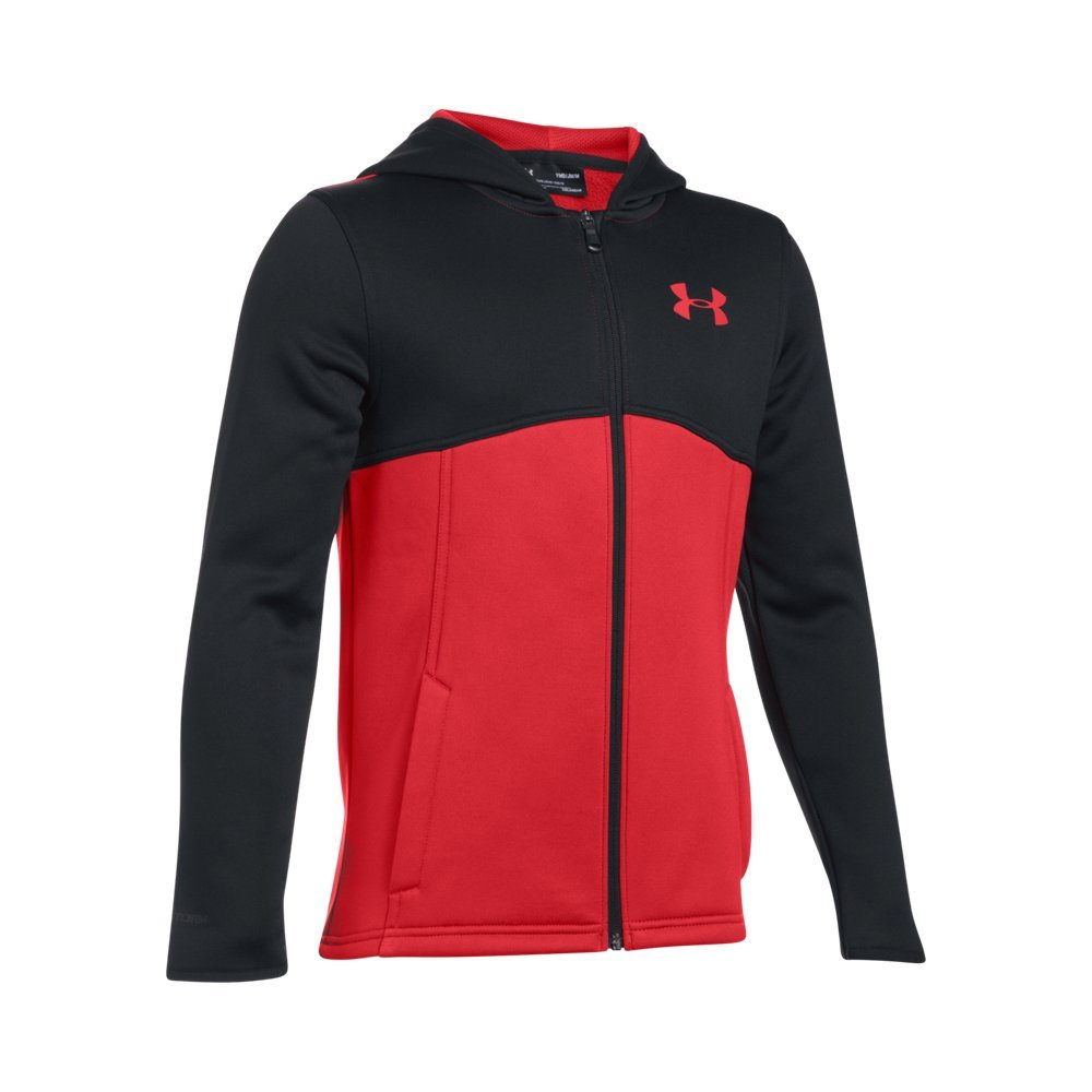 Under Armour Boys' Armour Fleece Full Zip Hoodie,Red (600)/Red, Youth Small