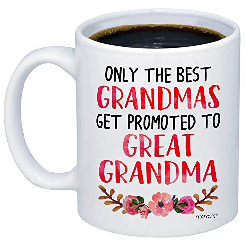 MyCozyCups Baby Reveal Gift For Great-Grandmother - Only The Best Grandmas Get Promoted To Great Grandma Coffee Mug - Cute 11oz Cup For New Mom Pregnancy Surprise Announcement, Baby Shower Party