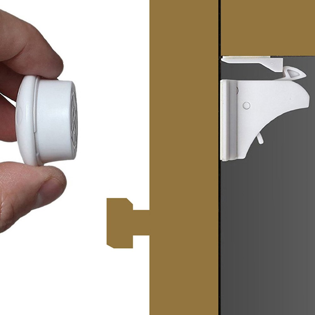 Matedepreso 4Pcs Child Safety Magnetic Cupboard Locks Baby Proofing Magnetic Cabinet Drawer Locks Child Latches