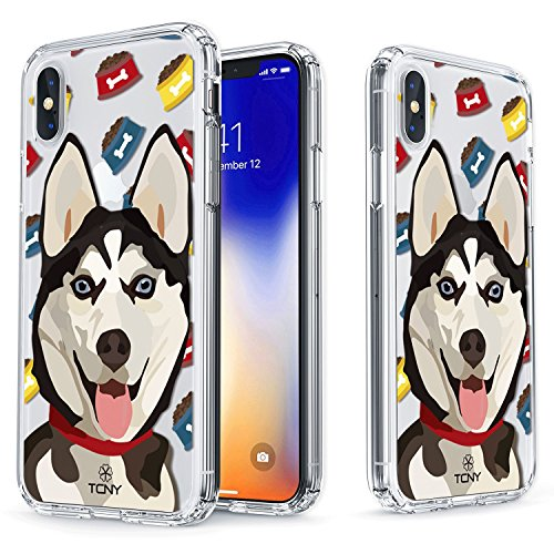 iPhone X Case - True Color Clear-Shield Siberian Husky Dog My Lovely Pet Collection Printed on Clear Back - Soft and Hard Thin Shock Absorbing Dustproof Full Protection Bumper - Husky Shield